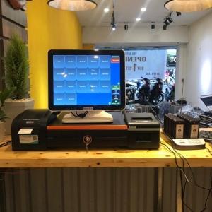 Máy tính tiền cảm ứng 2 màn hình cho quán Trà Chanh Bụi Phố