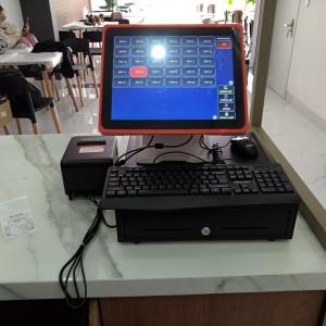 Máy tính tiền cảm ứng quán trà sữa ăn vặt